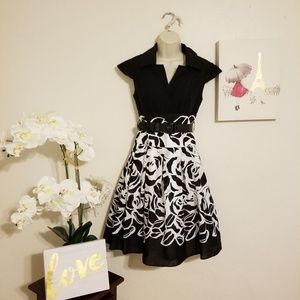 Cap Sleeve Belted Fit & Flare Pleated Skirt Dress